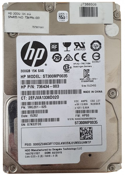 "HP 300 GB 15K Cheetah 2,5"" SAS Festplatte ST300MP0035 736434-003"